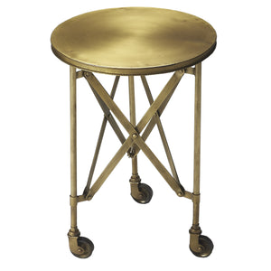 Industrial Modern Antique Brass Gold Finish With Side Table With Casters