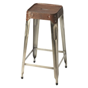 Industrial Modern Bar Stool With Leather Top
