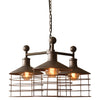 Industrial Modern Cage Edison Chandelier Three Light Pendant Lamp