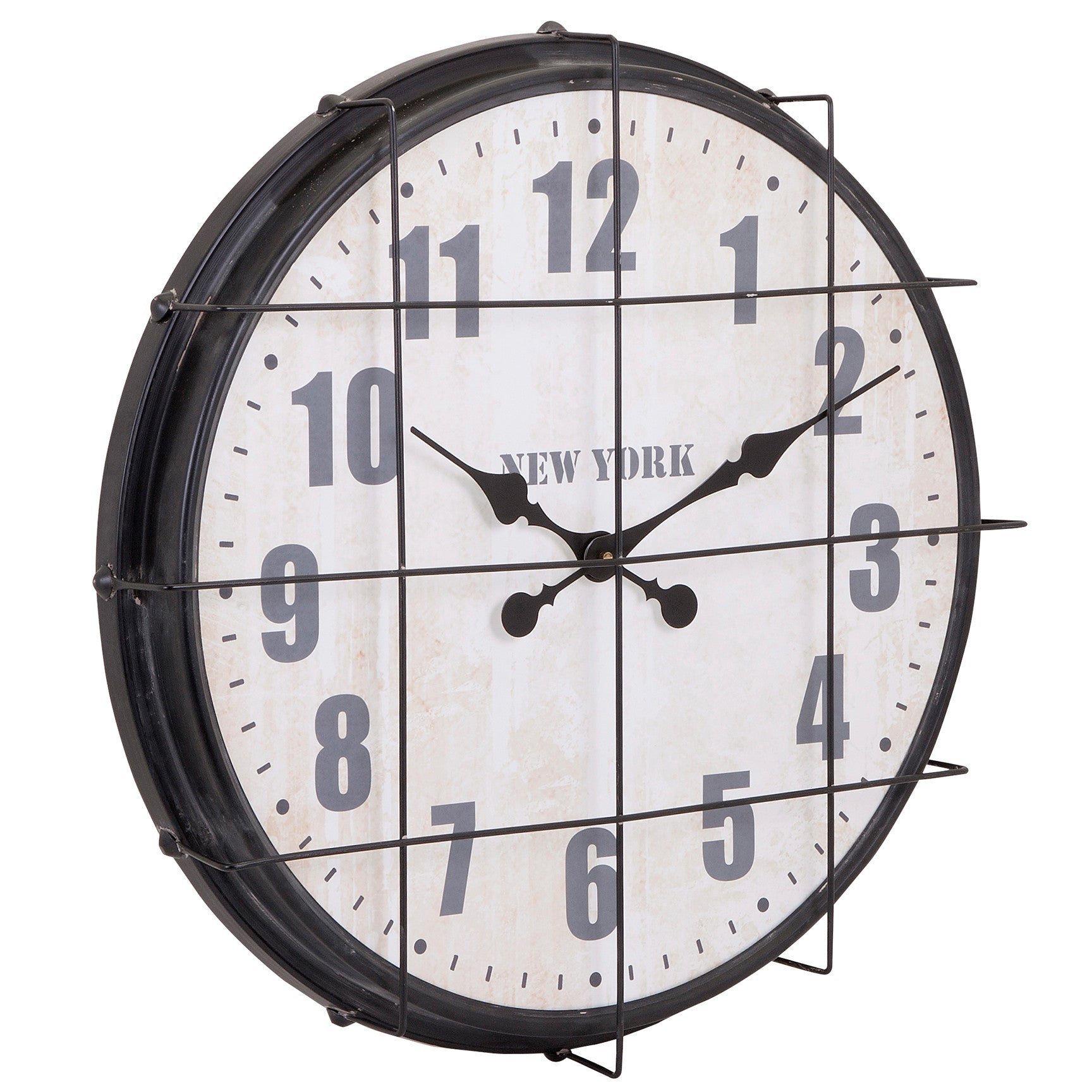 Modern rustic wall clocks woodwaves industrial modern factory style cage clock amipublicfo Image collections