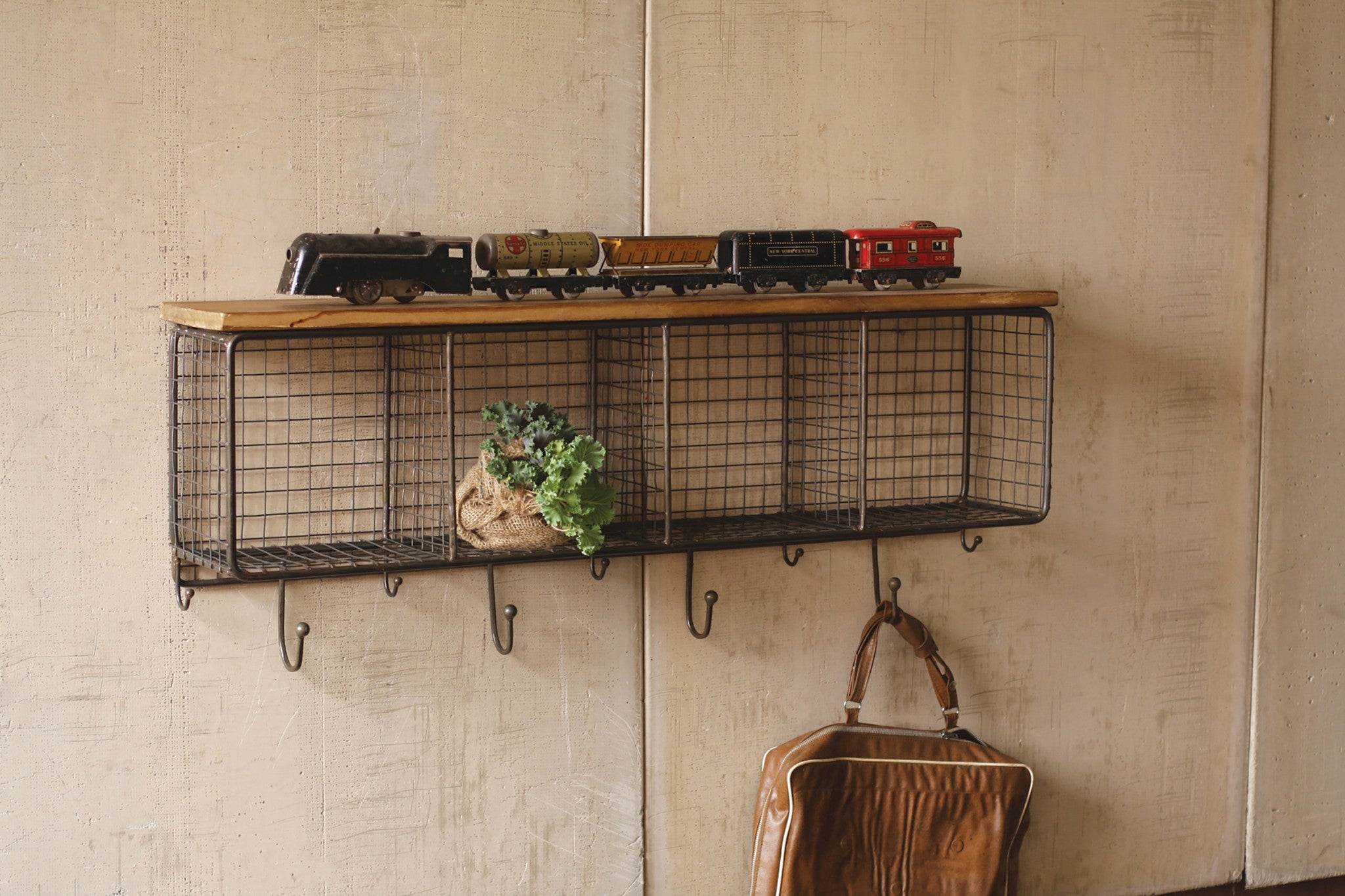Industrial Modern Cage Wall Cubbies and Top Shelf