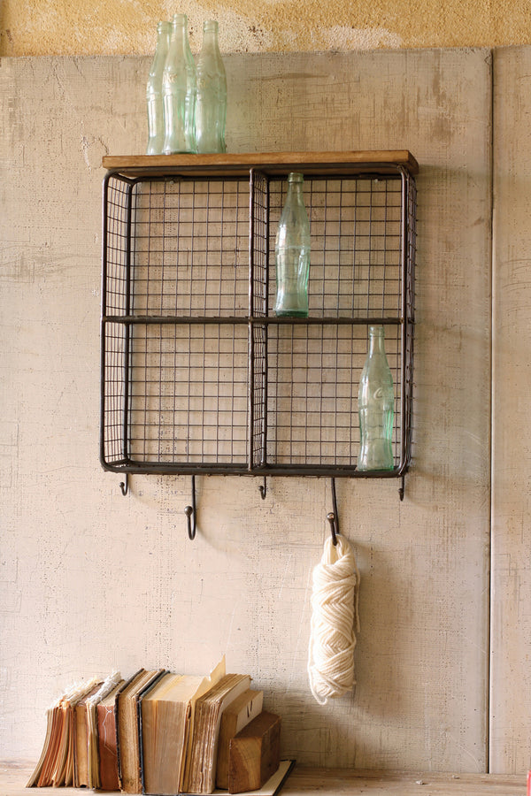 Industrial Modern Cage Wall Shelf With Hooks Woodwaves