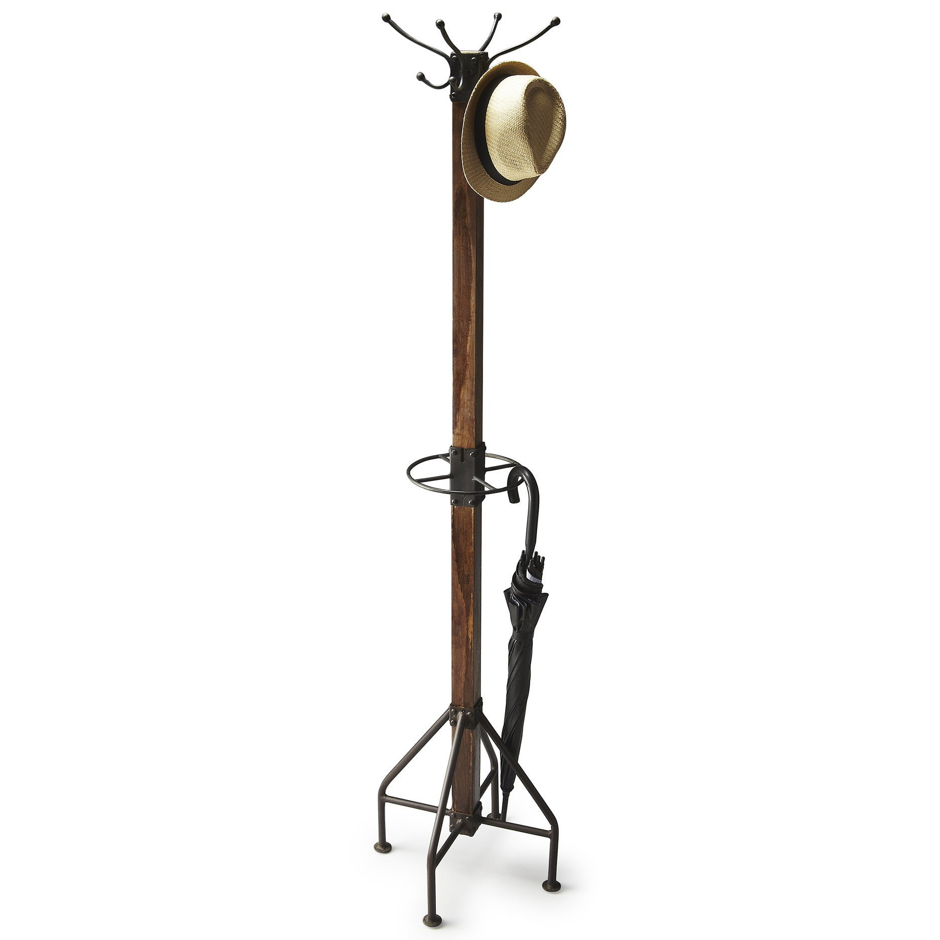 Industrial Modern Coat Umbrella and Hat Rack