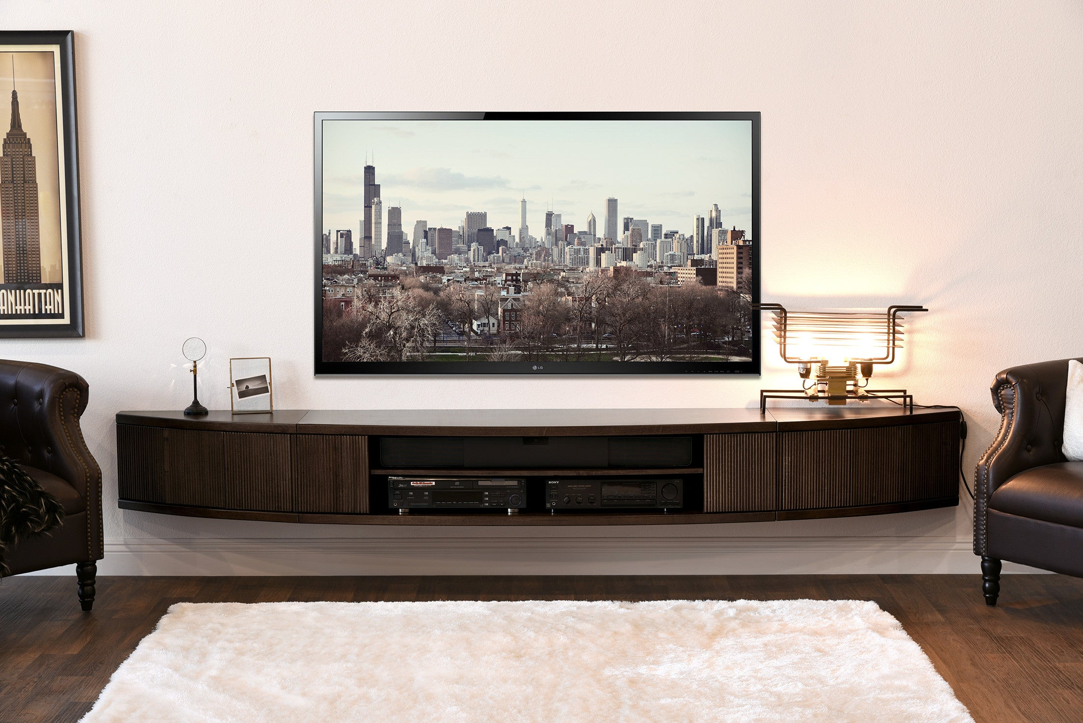 floating tv stand entertainment center eco geo espresso woodwaves. Black Bedroom Furniture Sets. Home Design Ideas