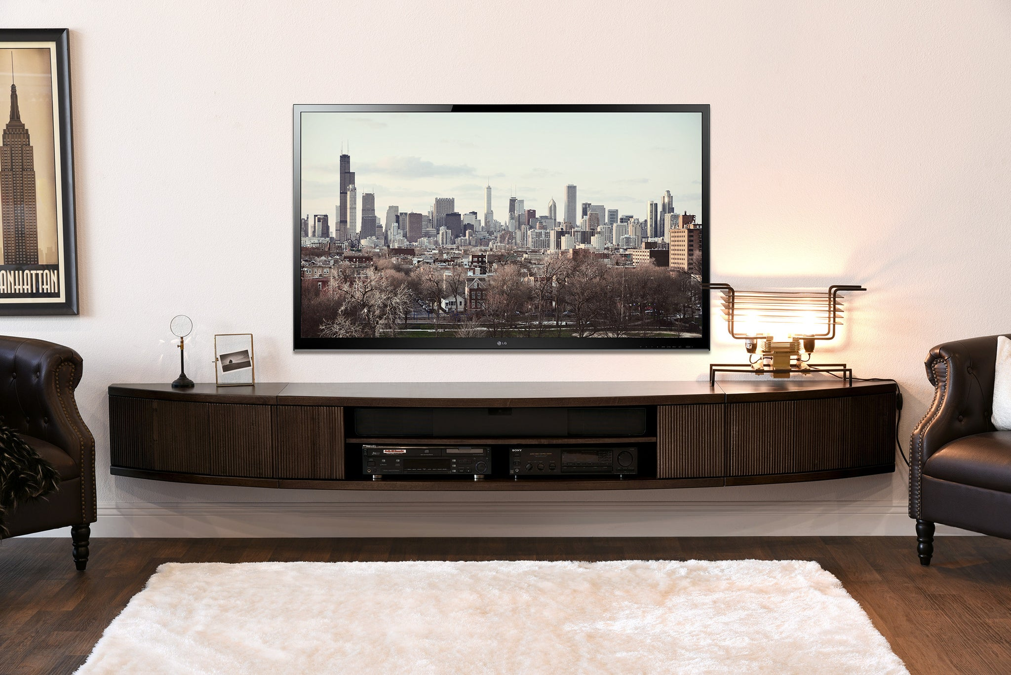 Industrial Modern Curved Floating TV Stand Wall Mount Entertainment Center Arc Espresso 2048x