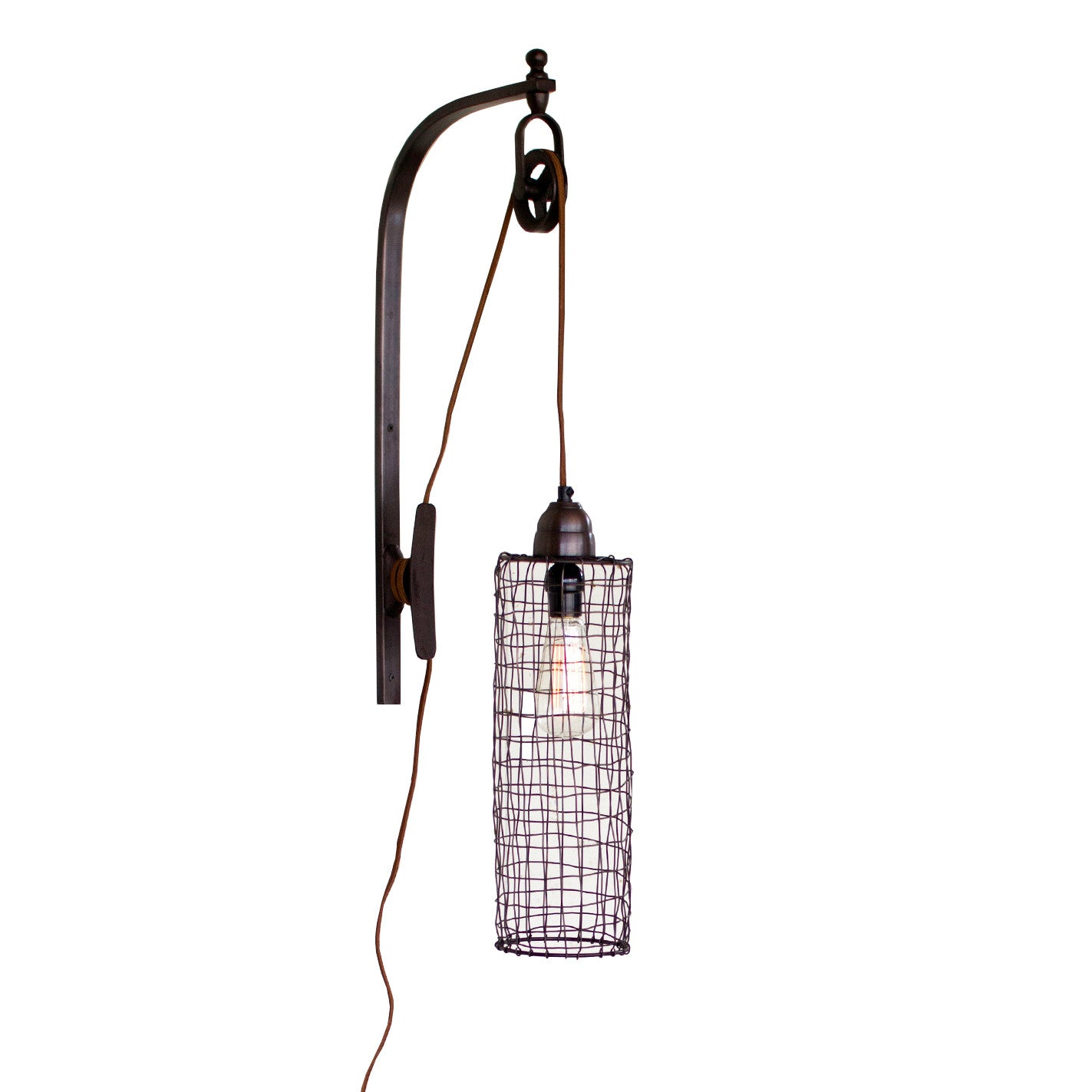 new products dd4b3 fd245 Industrial Modern Edison Cage and Pulley Plug In Wall Sconce