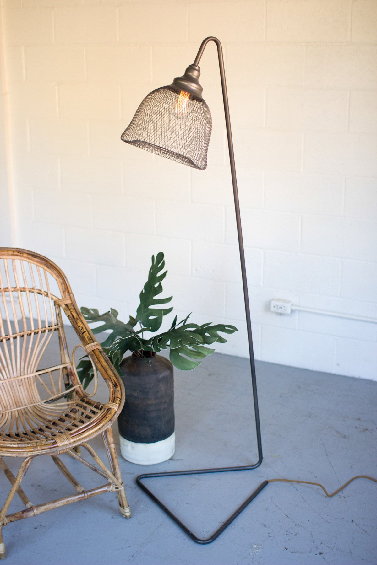 Industrial Modern Edison Floor Lamp With Wire Mesh Shade - Woodwaves