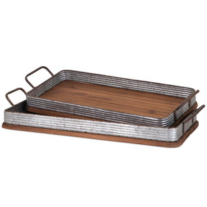 Industrial Modern Farmhouse Corrugated Metal and Wood Serving Trays - Set of 2