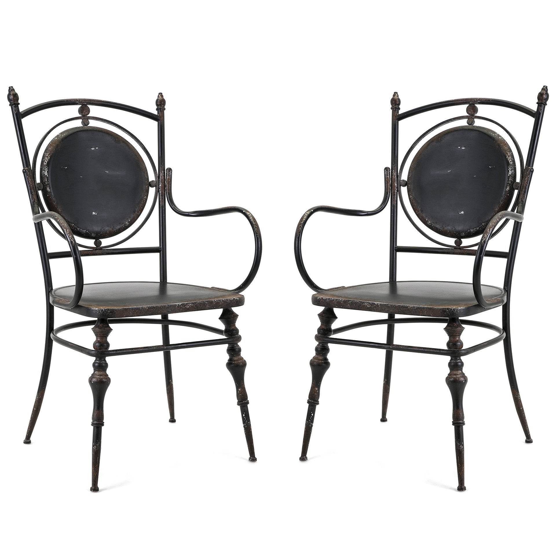 Industrial Modern Farmhouse Rustic Metal Black Arm Chairs Set of