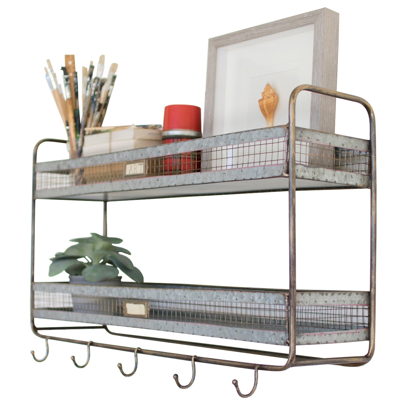 Industrial Modern Floating Wall Mount Shelf With Coat Hooks
