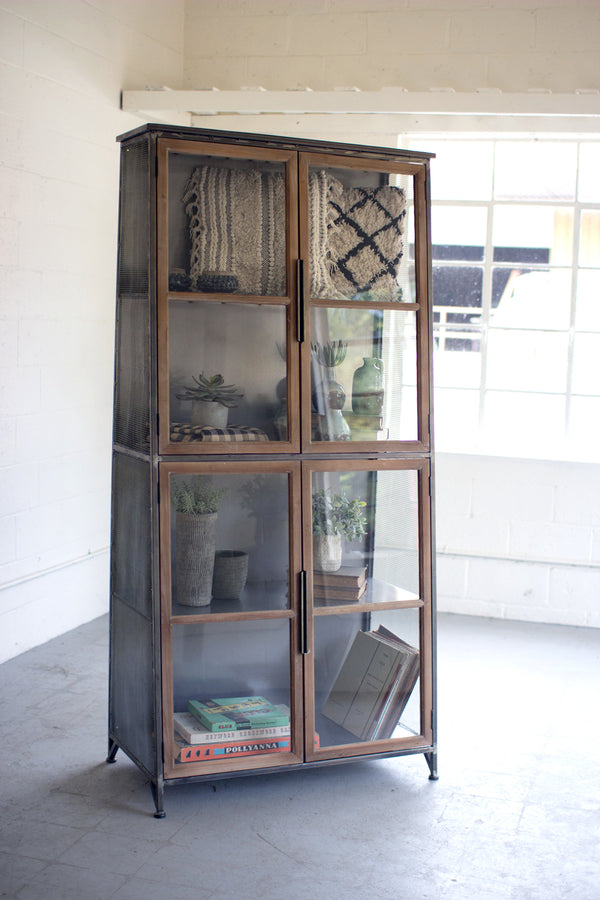 Industrial Modern Glass Door Storage Cabinet Bookcase