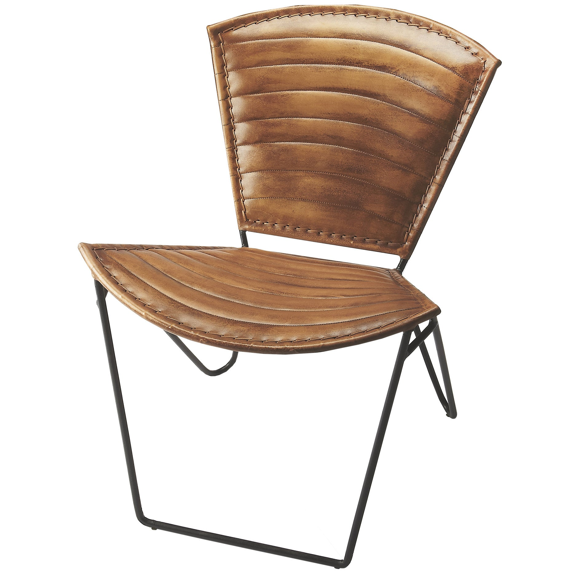 Industrial Modern Iron And Leather Accent Chair