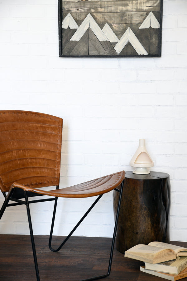Industrial Modern Iron And Leather Accent Chair Woodwaves