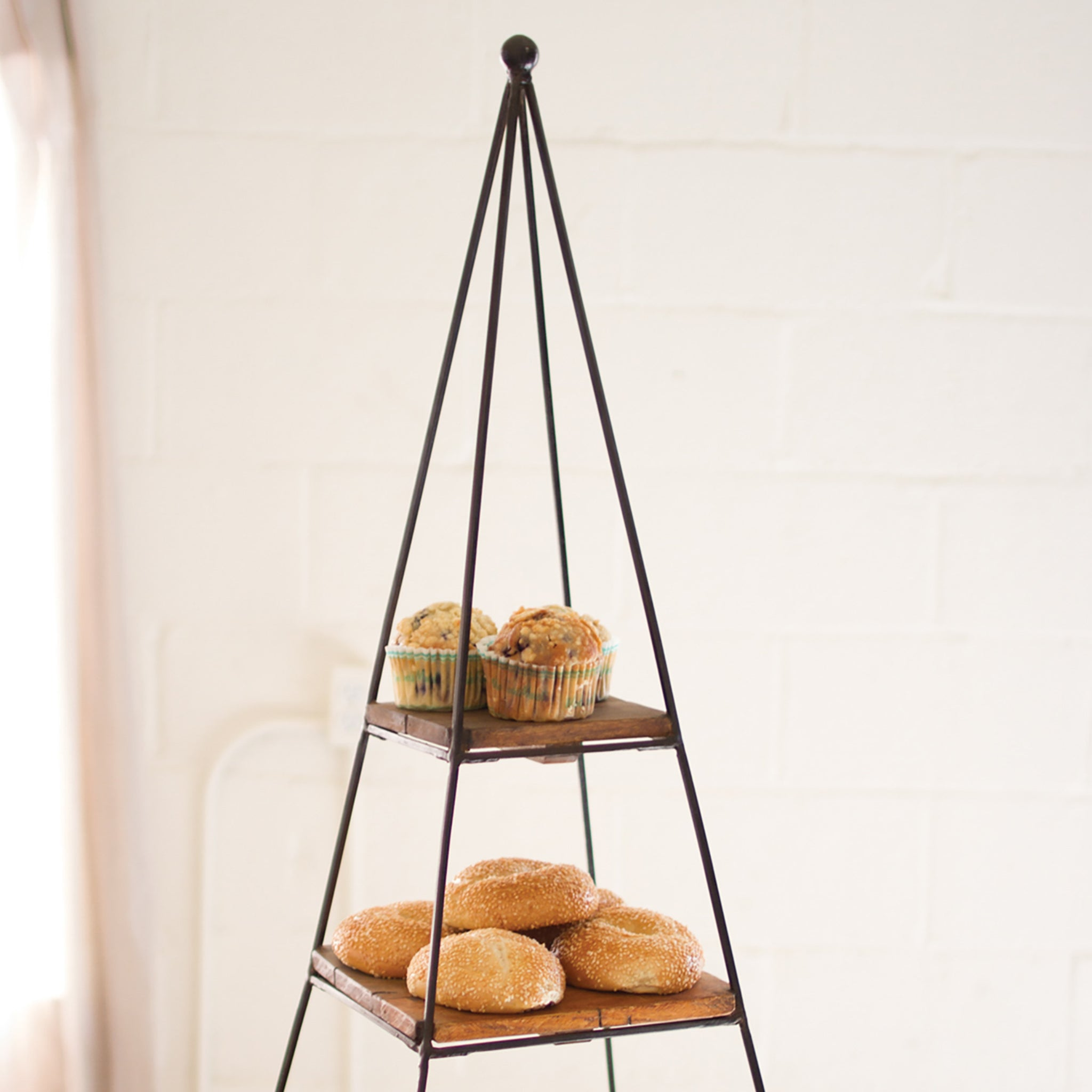 Industrial Modern Iron and Wood Tiered Platters