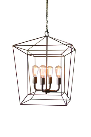 Industrial Modern Metal Wire Chandelier With 4 Lights