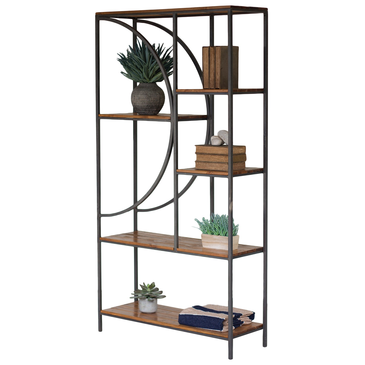 Metal & Wood Bookcase Storage Shelf