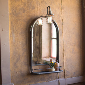 Industrial Modern Mirror Shelf With Lamp