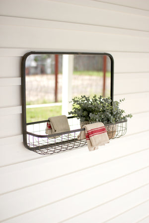Industrial Modern Mirror With Wire Basket Wall Shelf