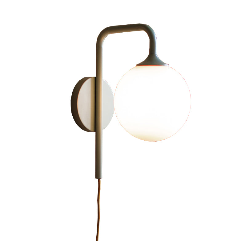 Industrial Modern Plug In Wall Sconce With Frosted Globe