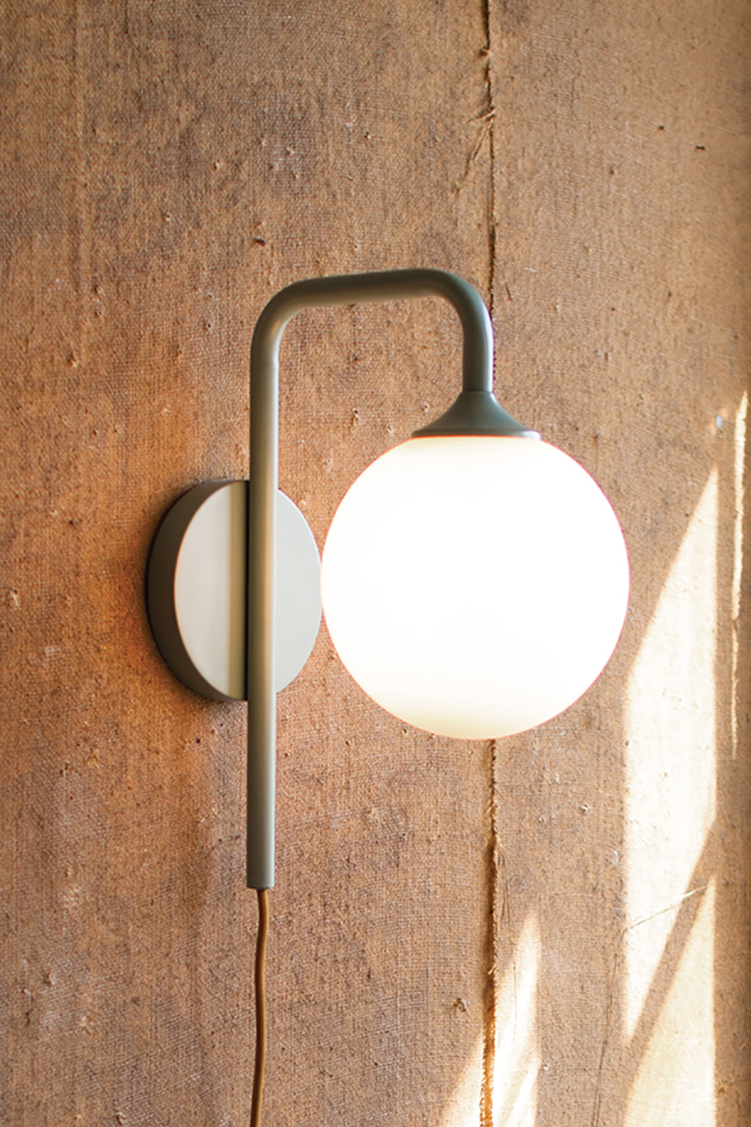 Captivating Industrial Modern Plug In Wall Sconce With Frosted Globe
