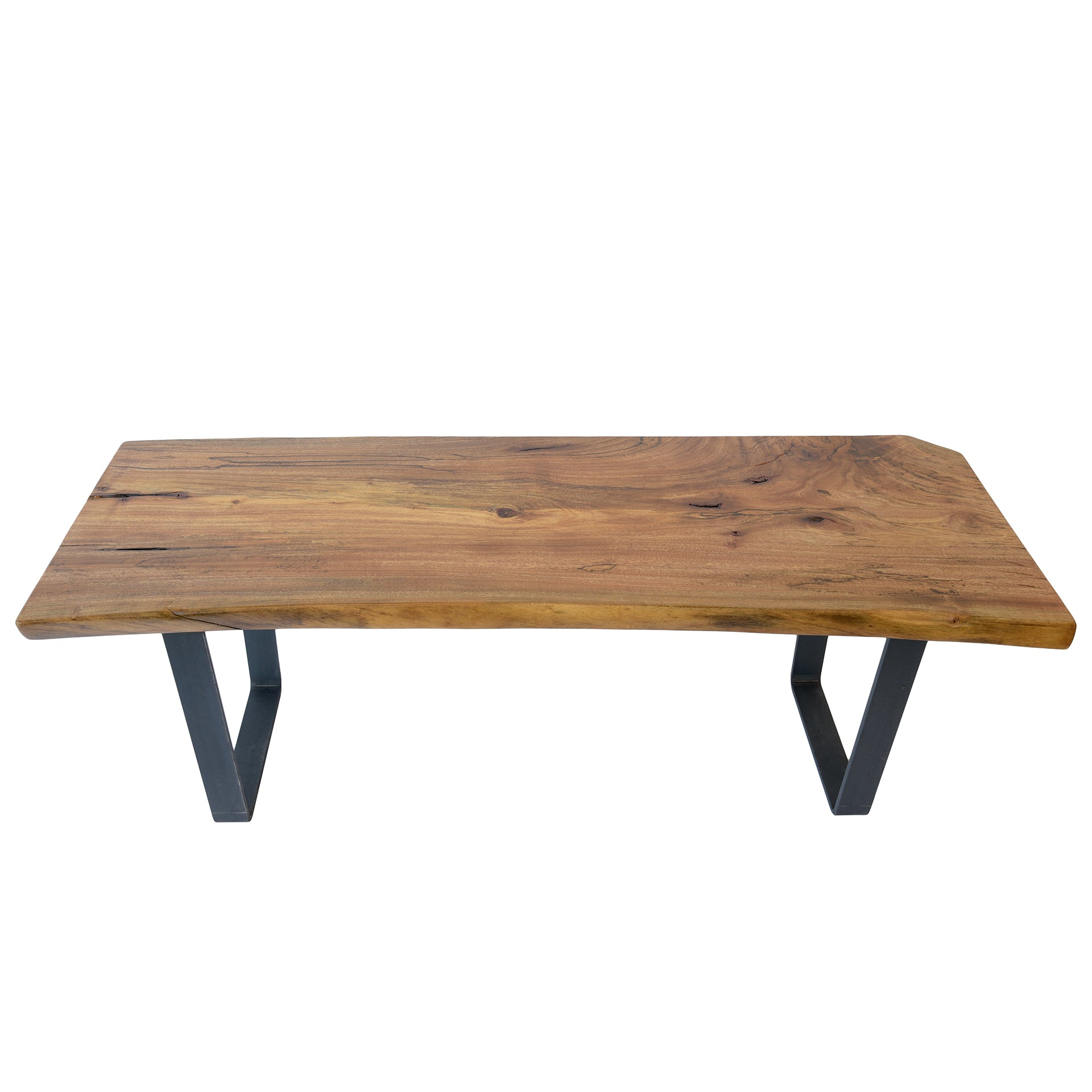 Vintage Industrial Live Edge Walnut Slab Coffee Table: Coffee Tables