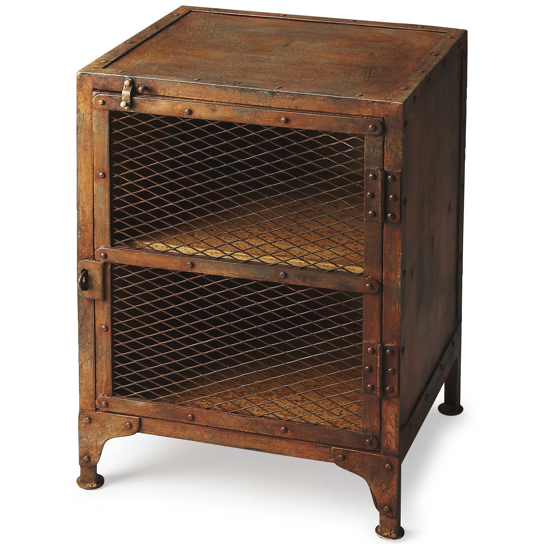 end tables tagged table  woodwaves - industrial modern end table iron rust finish with cage cabinet