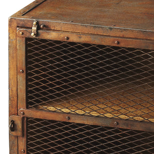 Industrial Modern End Table Iron Rust Finish With Cage Cabinet