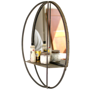 Industrial Modern Rustic Metal Wall Shelf and Mirror