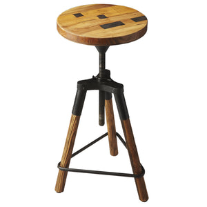 Industrial Modern Steel and Wood Farmhouse Barstool
