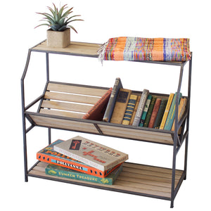 Industrial Modern Steel and Wood Library Bookshelf