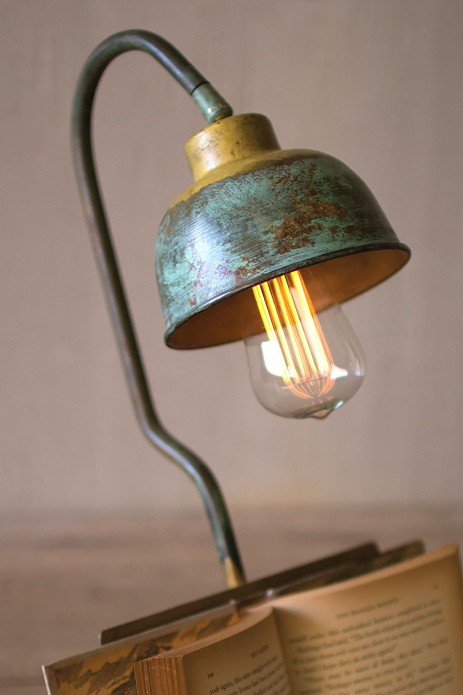 Industrial Modern Table Lamp With Book Holder Woodwaves