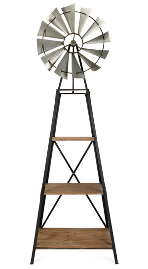 Farmhouse Industrial Modern Windmill Style Bookshelf