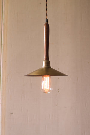 Industrial Modern Antique Brass Pendant With Wood Handle
