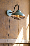 Farmhouse Blue Plug In Wall Sconce