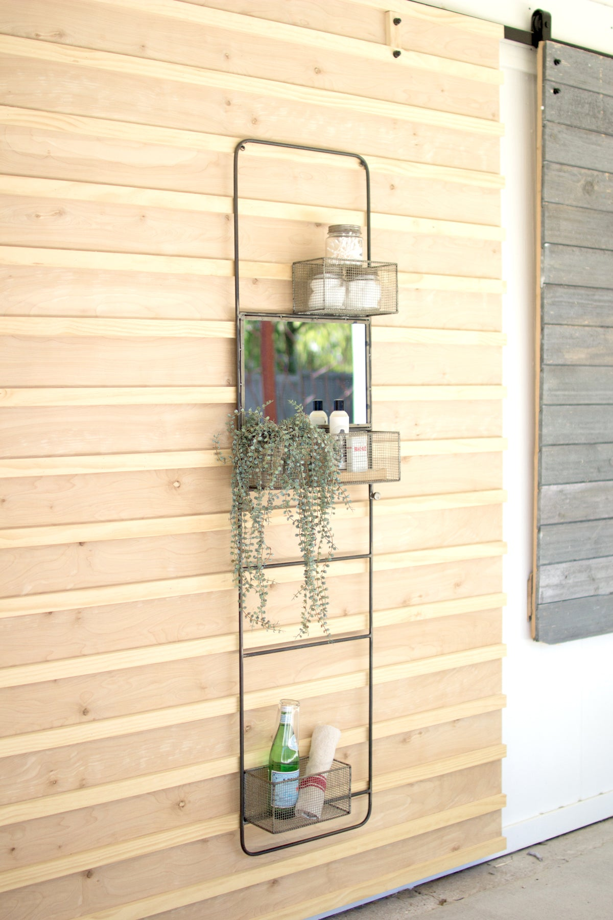 Industrial Wall Mount Floating Metal Basket Organizers With Mirror