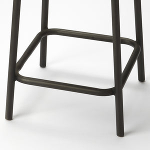 Industrial modern Iron and Wood Plank Bar Stool