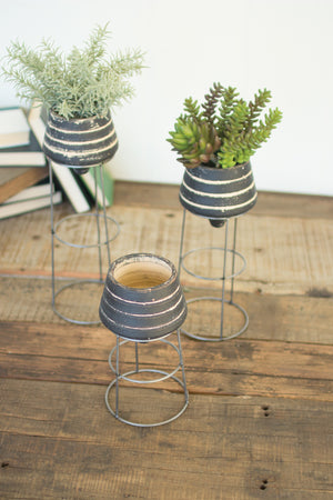 Industrial Modern Black Clay Planters With Metal Stands - Set of 3