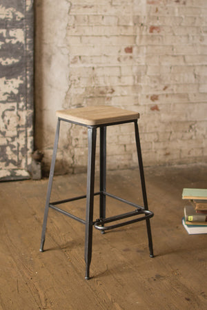 Industrial Modern Metal Bar Stool With Wood Seat