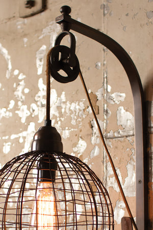 Industrial Modern Pulley Wall Sconce With Round Wire Shade