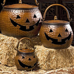 Iron Jack O Lantern Lidded Pumpkins - Set of Three
