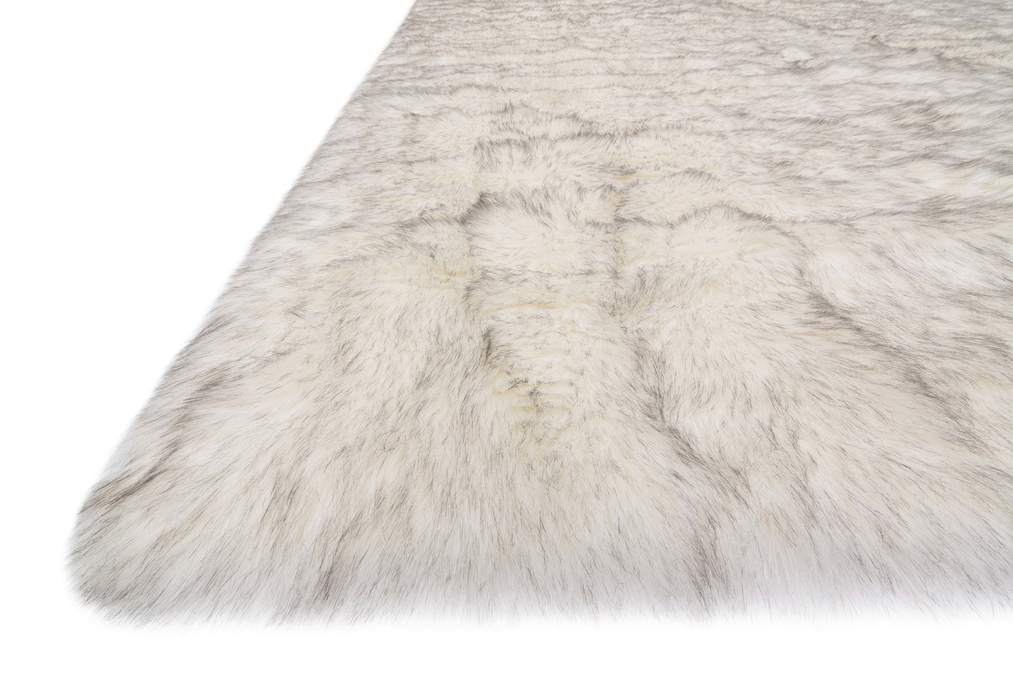 Modern Ivory White and Gray Faux Fur Rug