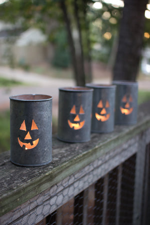 Jack O Lantern Tin Candle Holders - Set of Four