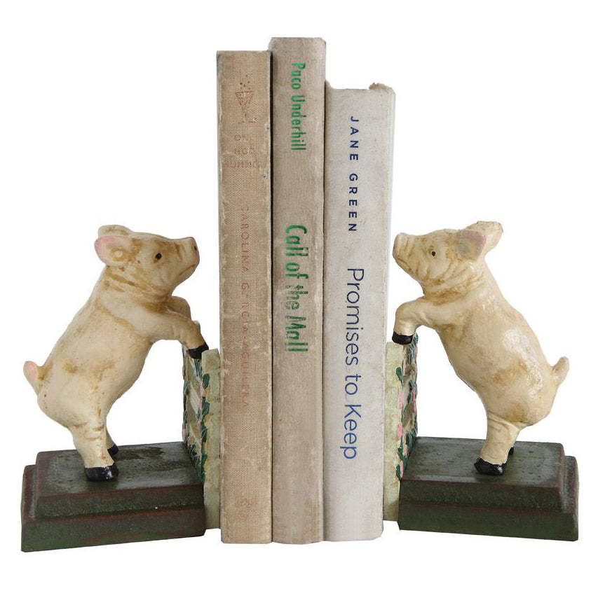 Kids Pig Bookends Rustic Hand Painted - Set of 2