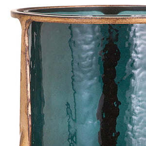 Large Aged Gold Brass Finish Smoked Blue Glass Hurricane Candle Holder