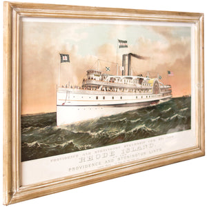 Large Framed Rhode Island Steamship Illustration Print Coastal Nautical Wall Art