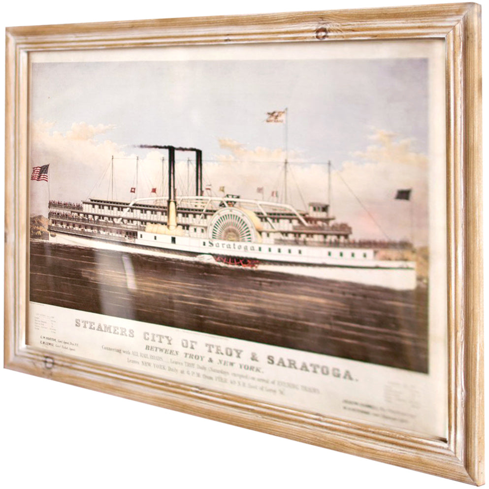 Large Framed Troy & Saratoga Steamship New York Illustration Print Coastal Nautical Wall Art