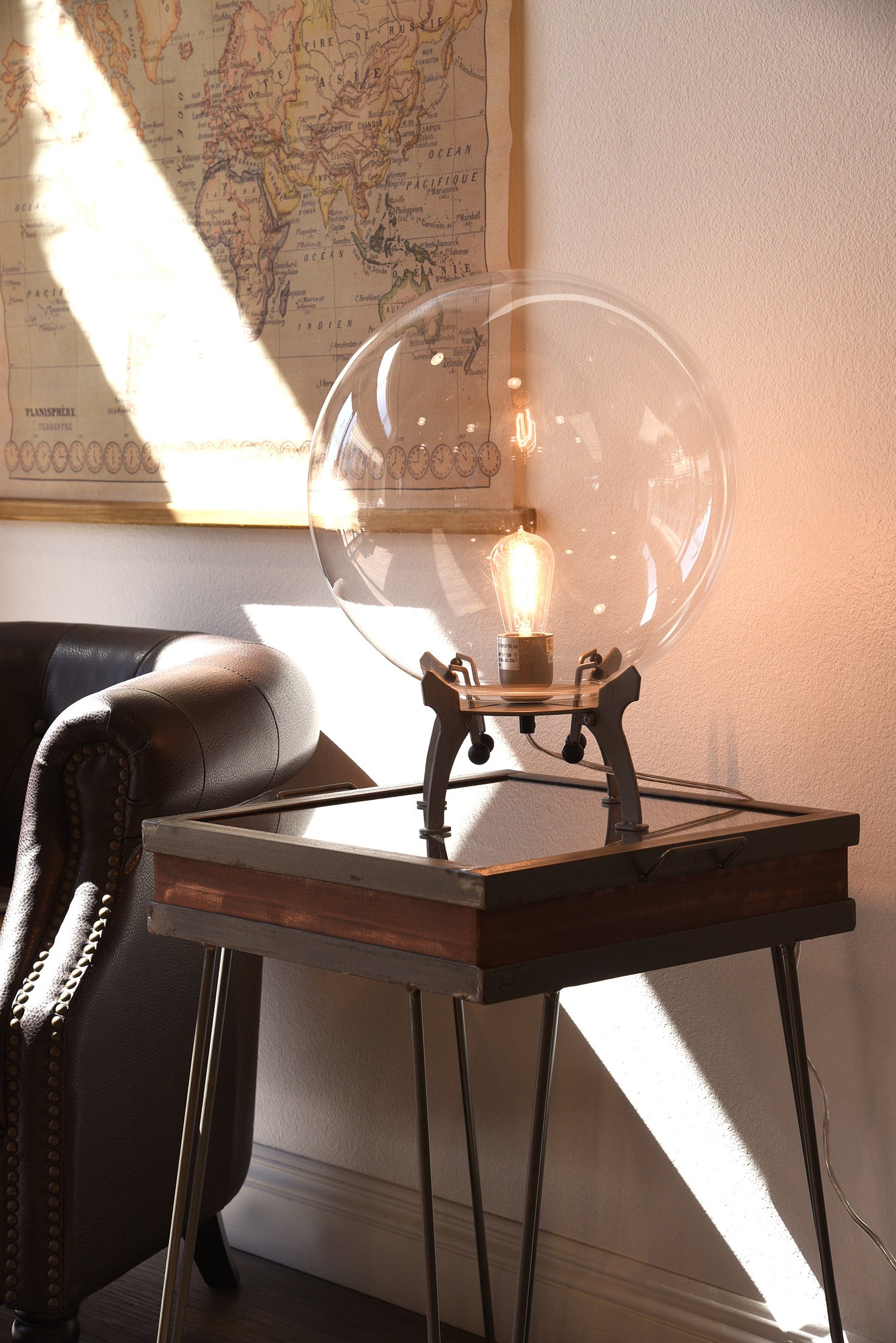Large Glass Edison Globe Industrial Modern Table Lamp Woodwaves