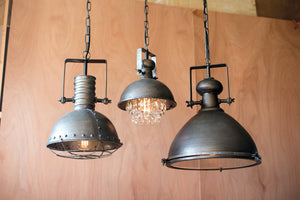Large Industrial Modern Raw Metal Pendant With Glass Cover