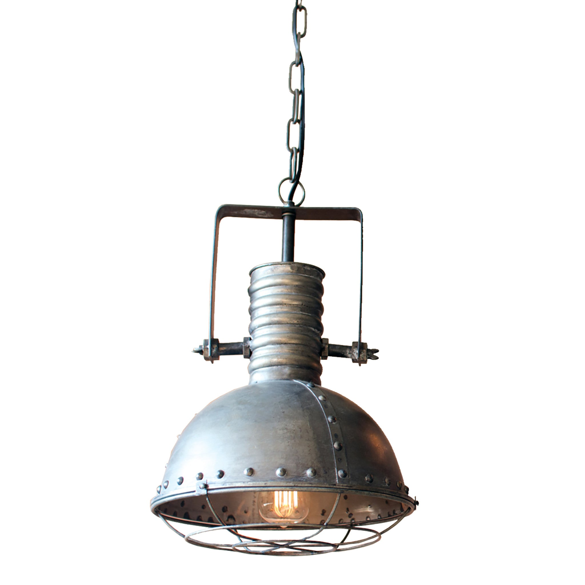 Large industrial metal caged pendant lamp woodwaves large industrial metal caged pendant lamp aloadofball Images