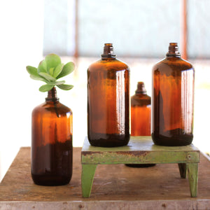 Brown Antique Glass Bottles - Set of 4